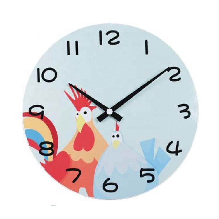 Guangzhou factory wholesale wall clock battery mechanism cute cock and hen glass wall clock for baby room