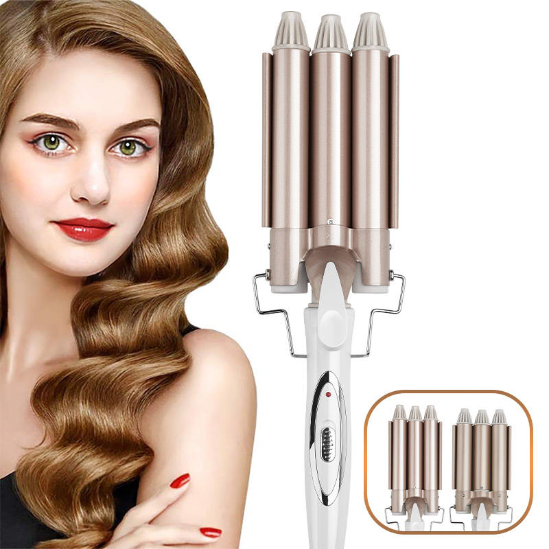 3 barrel hair curlers Iron LED Display private label custom brand curler hair Triple Barrels body wave hair curler wand