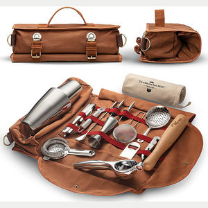 Custom brown canvas professional bar kit travel making bartender tool bag shoulder trap rolling tool bag