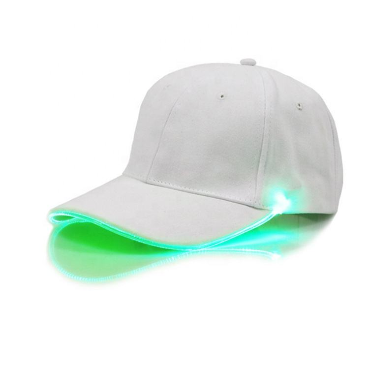 Hot Fashion Unisex Solid White Color LED Luminous Baseball Hat Promotion Christmas Party Peaked Cap