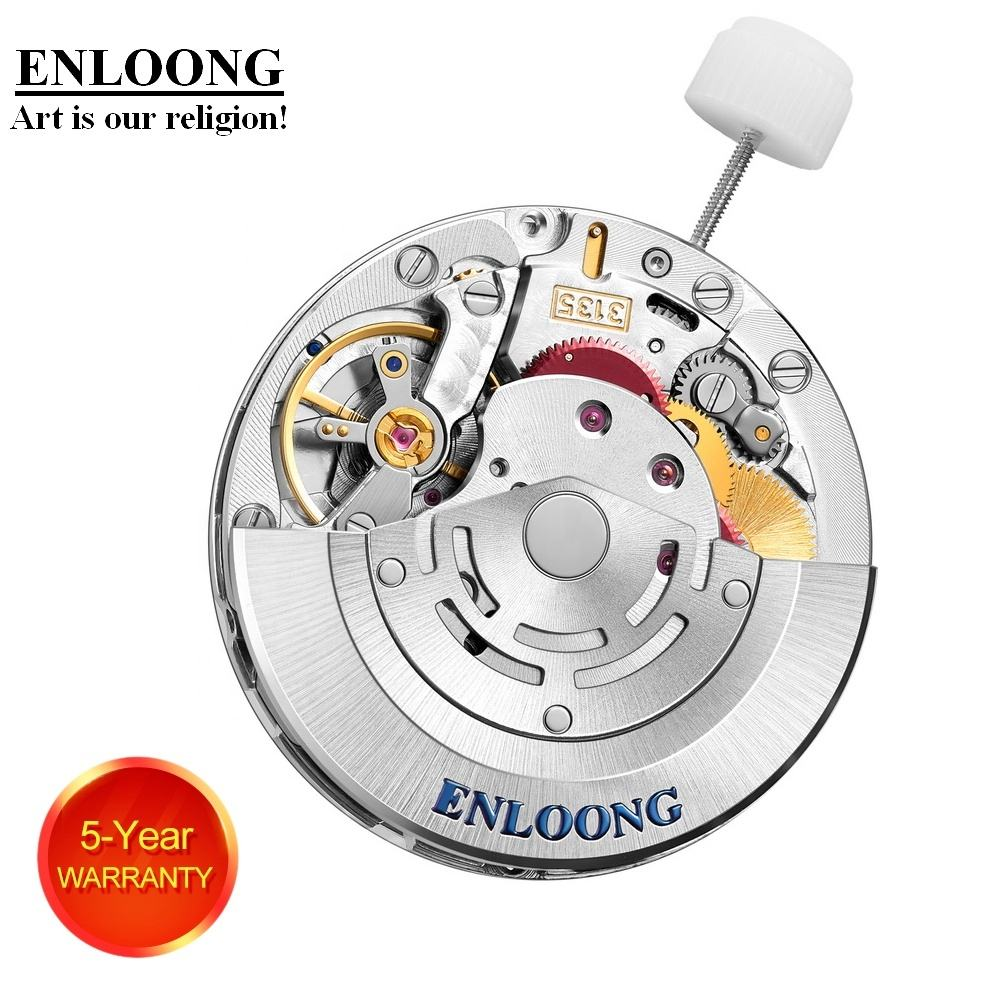ENLOONG Luxury Mechanical Movement Automatic 30 Jewels Custom OEM Logo ELA3135 Blue Spring Red Wheel Watch Parts 3135 Movement