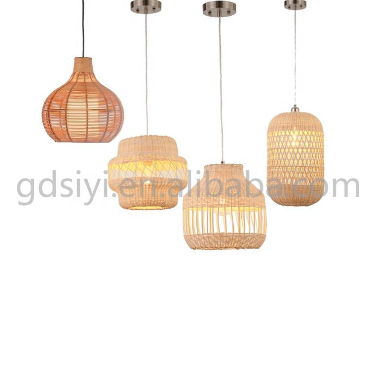 Industrial cheap price pure rattan shade bamboo rattan light kitchen lamps home decor pendant light