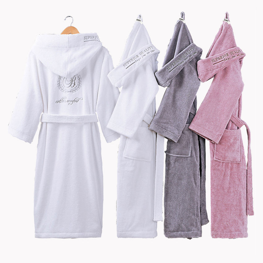 Custom Unisex Men and Women White Terry Cloth Bath Robe Hotel 100% Cotton Terry Bathrobe with Hood