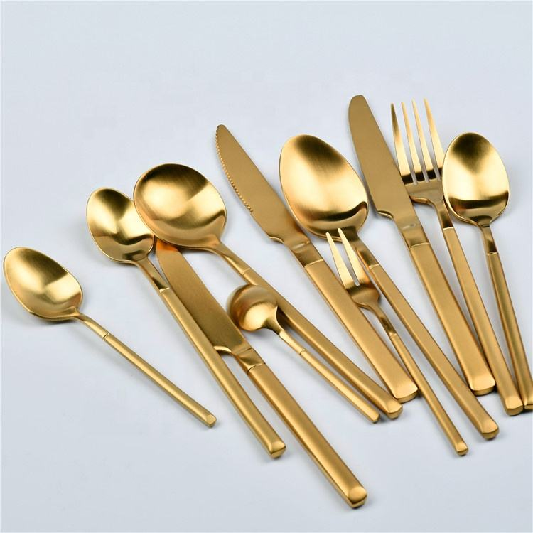 wholesale stainless steel wedding gold cutlery spoon and fork knife golden flatware sets wedding cutlery