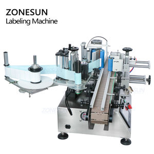 ZONESUN ZS-TB500 Sticker Liquid Soap Automatic Water Bottle Labeling Machines 2 Side With Coder