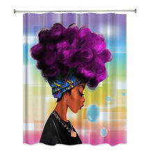 African American girls modern polyester waterproof black woman shower curtain for bathroom