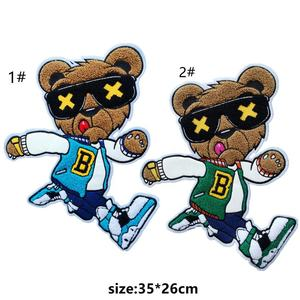 GUGUTREE embroidery big chenille bear patches for denim jeans,animal cartoon badges DIY jackets,appliques patch AL-204317