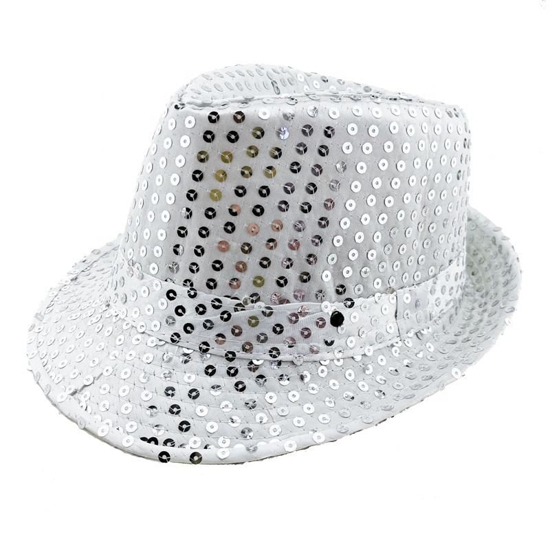 white hip hop 9 led sequin led flashing led hat with Blue led party