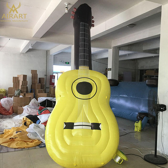 Music festival stage decoration 4m high inflatable guitar balloon