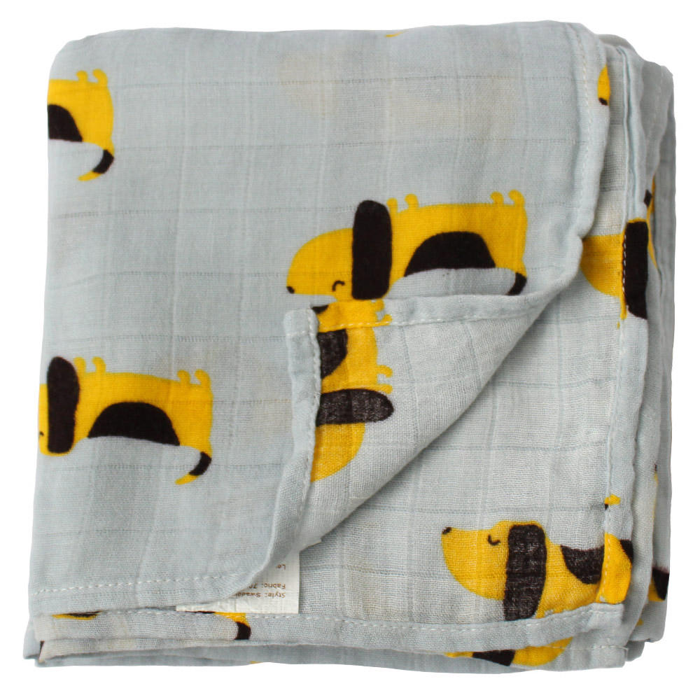 Ready To Ship Cheap Dog Pattern Printing Swaddle Wrap Bamboo Cotton Organic Baby Muslin Blanket