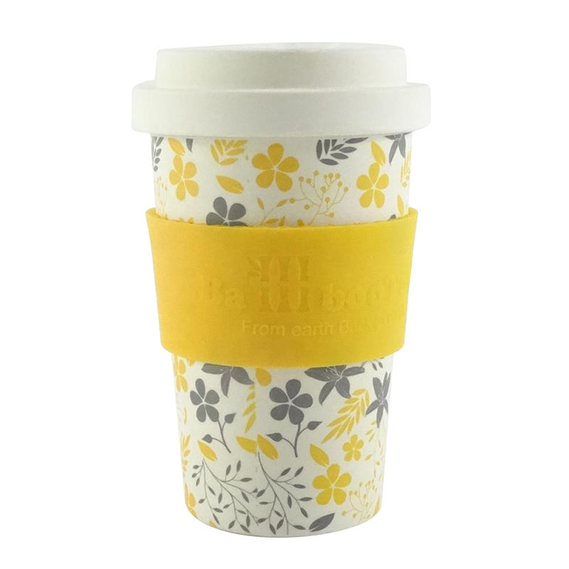 Wholesale biodegradable bamboo fiber plastic reusable coffee cup mug with lid