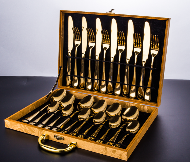 Wooden [ Cutlery Sets ] 24pcs Cutlery Sets Royal Titanium Gold Plated Flatware Wholesale 24pcs Gold Plated Flatware Wholesale With Wooden Box Cutlery Sets