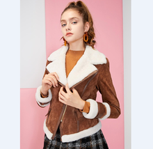 Wholesaler Women's Genuine Suede Leather Jacket with real fur  for spring and Autumn