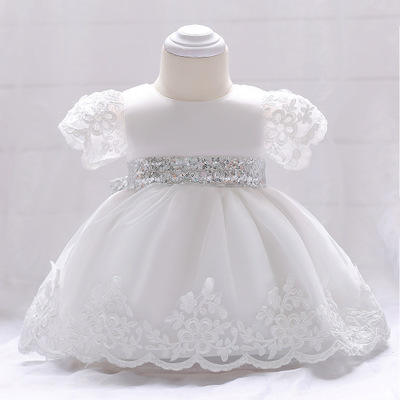 2020 children's clothing lace girls sequins newborn flower girl dress 1 years infant clothing kids frocks baby frock designs