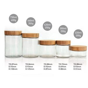 Eco-friendly glass packaging container glass jar and bottles with bamboo lid