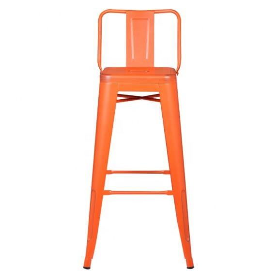 "BOHAO 30"" Seat Height Orange Brush Grey Color 30'' Seat Height Bar Chair Indoor Outdoor Set of 4"