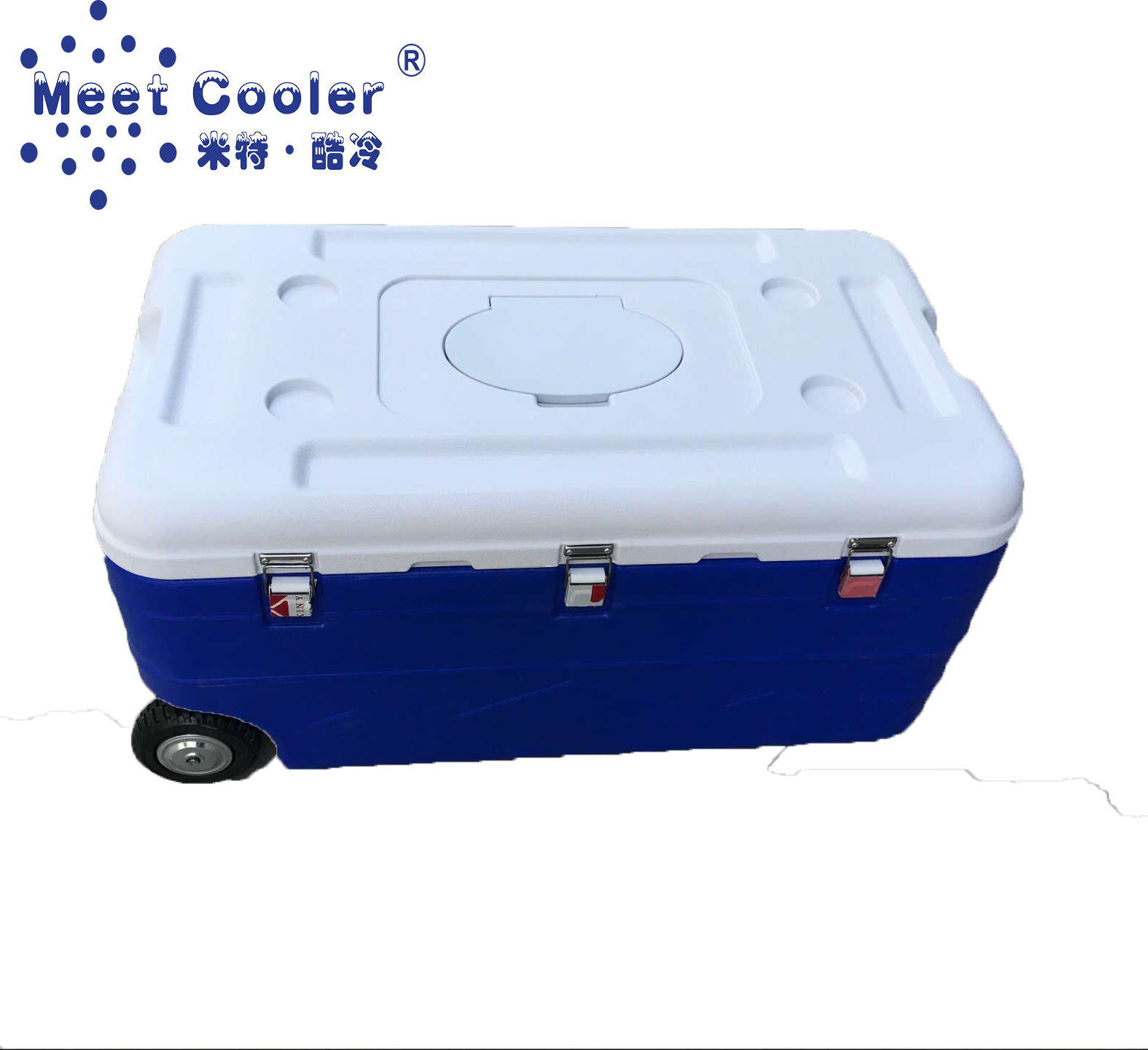 180L PU Large Seafood Storage Transportation Ice Chest Cooler box with wheels and top window - MTU180LT