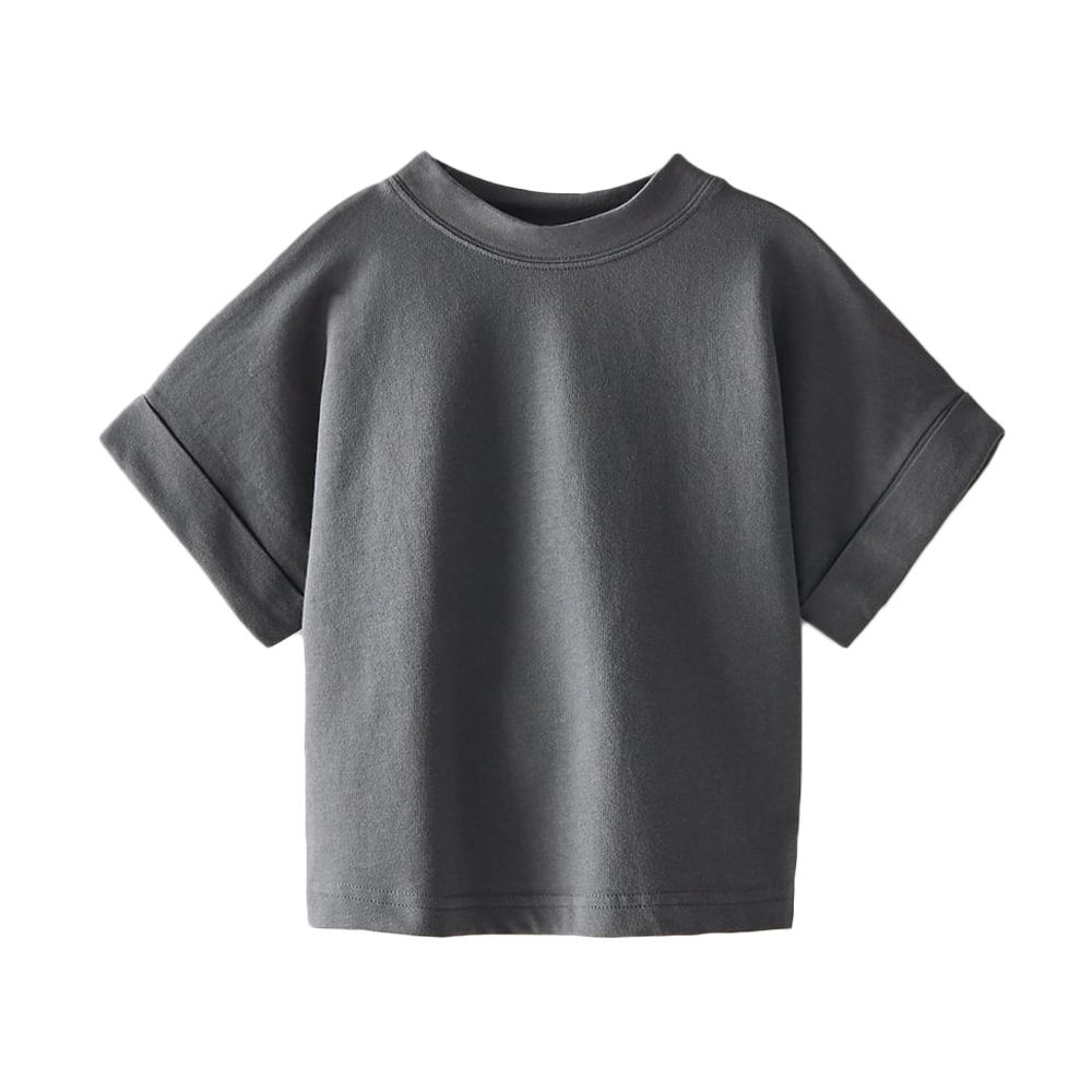 toddler kids neutral loose fit blank tee shirt roll up short sleeve unisex baby solid tshirt