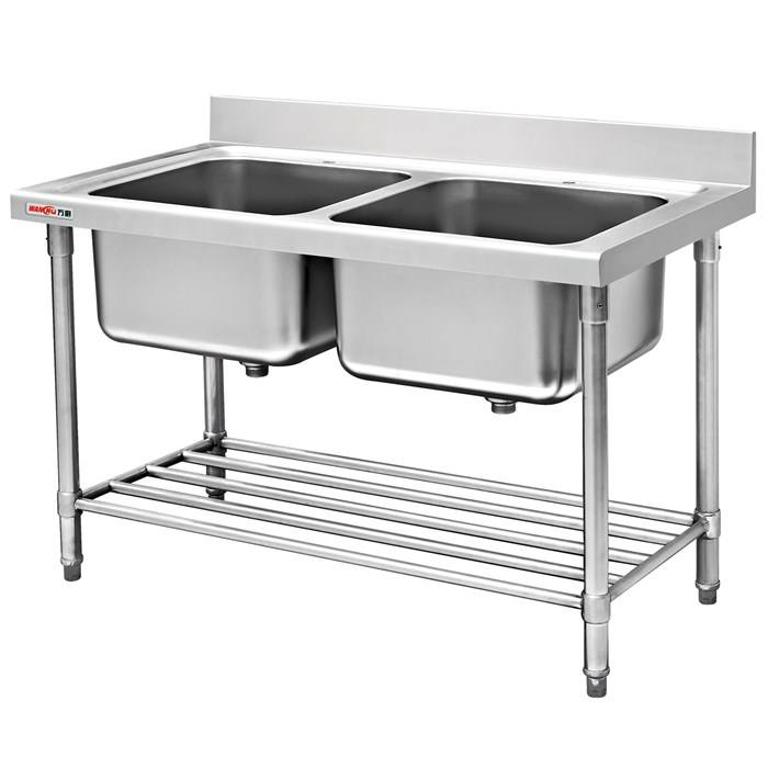 Industrial Kitchen Project Stainless Steel Double Sink Working Table with Undershelf in Malaysia for Restaurant Hotel Equipment