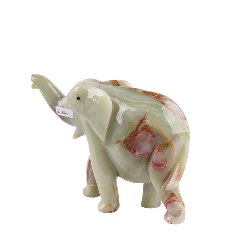 Unique design natural quality semi-precious stone elephant hand carved jade carving elephant home decoration wholesale price
