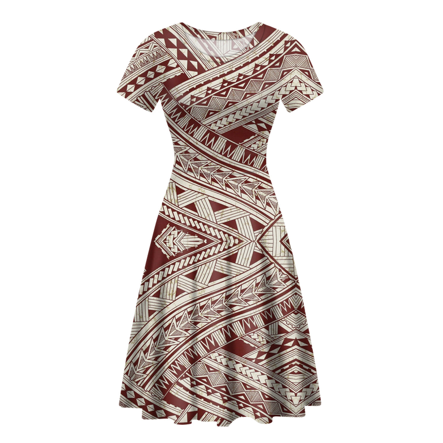 Promotional Polynesian Traditional Tribal Style Print Girls' Dresses Trendy Casual Dresses Women Unique Custom Plus Size Dresses