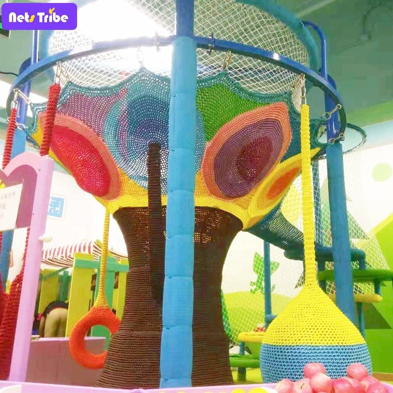 Netstribe Crocheted Cheerful Climbing Net Product Play ground Indoor for kids playground indoor -commercial Rainbow Tree