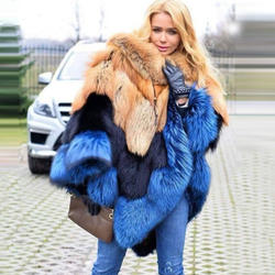 Best Sales Women Winter Windproof Plus Size Fox Fur Poncho R