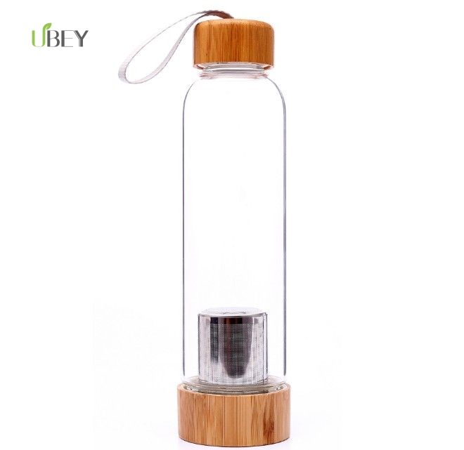 botellas de agua glass infuser water bottle with bamboo lid borosilicate glass