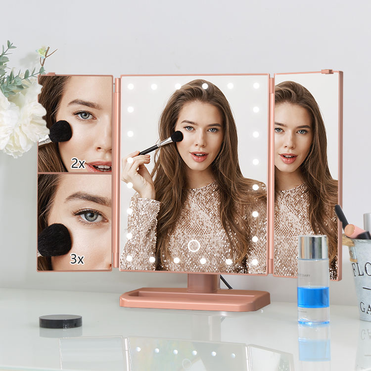 1 x 5 x 7 x Magnification Standing Desktop Cosmetic 3 Way Trifold Vanity 21 Lighted LED Makeup Mirror