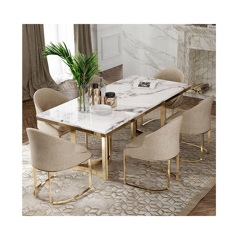 foldable dining table Northern Europe Domestic marble dining table and chair Rectangular dining table