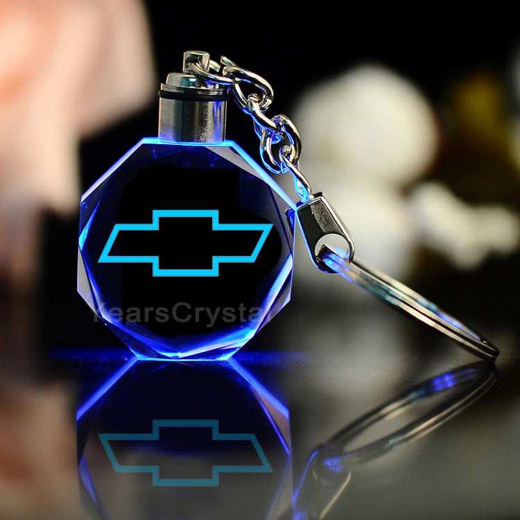 2020 Gift Promotional Gifts Custom 3D Laser Engraving Crystal Car Logo Key chains with led light keyring R-2305