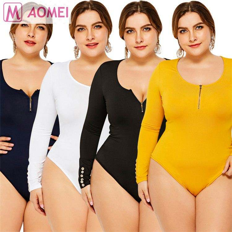 DO908109 2020 sexy Herbst Slim Fit Langarm Einfarbig Sexy Frauen sexy Plus Size Bodysuit Tops