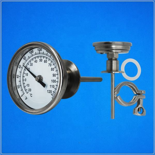 Stainless steel bimetal wine thermometer with tri clamp