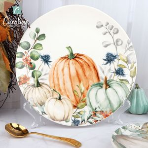 Eco Friendly Wholesale Ceramic Tableware Harvest Pumpkin Plate Dinnerware