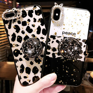 Luxury Epoxy Gold Foil Leopard Soft TPU Case Cover For iPhone 11 11pro 11pro max Bling Diamond Bracket case for iphone xs