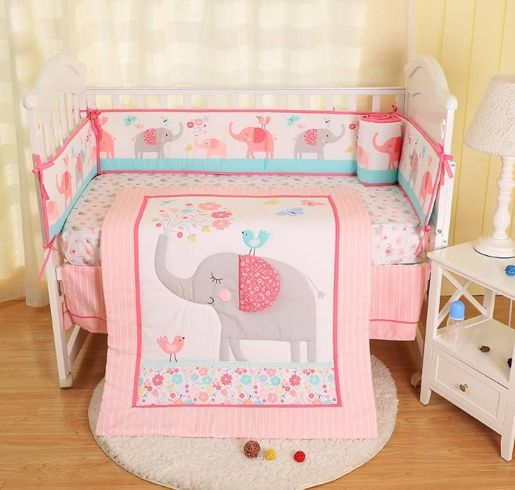 fashion custom printed baby crib bedding set with crib bumper