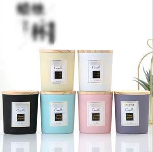 Luxury fancy design custom logo colored decorative glass candle jar with wood Lid