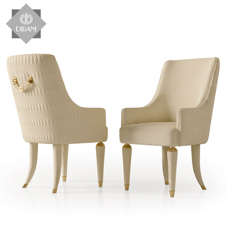 french style wedding banquet luxury dining chair for dining table Italian modern white leather wood dining chair