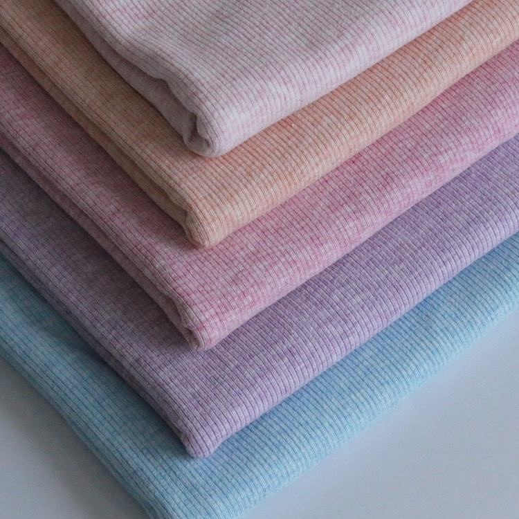 9181# 92% cotton 8% spandex color cotton rib 1*1 cloth fabric for knitting clothes