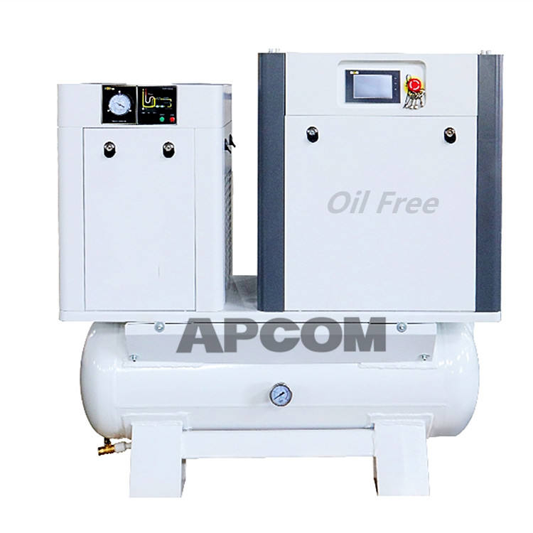 APCOM Water Lubrication Rotary Integrated Oil Free Screw Air Compressor 10hp 7.5kw 11kw 15kw with German Rhine certification