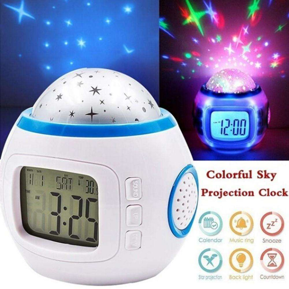 Starry Sky Night Light Projector Lamp Bedroom Music Alarm Clock Gift alarm clock star projector Multi-function night light