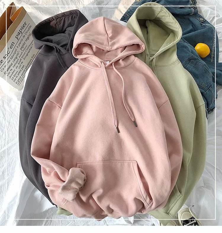 Hoodie And Sweatshirt Custom Solid Color Organic Cotton Hoodie Women Pullover Sweatshirt