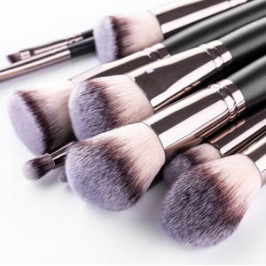 Factory Directly Supply 15pcs Black Vegan Blending Private Label Foundation Makeup Brush Set