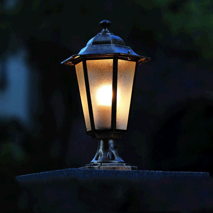 LED Patio Lamp IP65 iron creative pillar lights balcony residential villa focos Deck Square Fence exterior Post Lantern Lighting