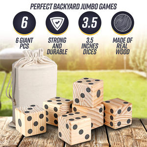 Eco-friendly wooden yard game custom 6 sided dice with carrying bag