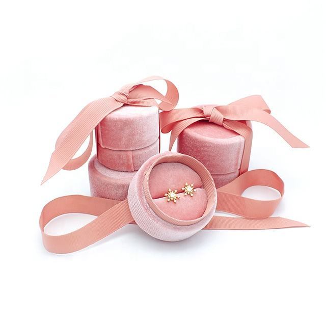 Luxury ribbon custom printed logo round pink wedding ring jewellery packaging boxes velvet gift jewelry box
