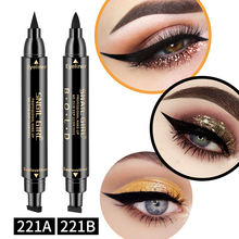 Black Eye Liner Pencil Liquid Waterproof with Eyeliner Stamp Delineador De Cejas
