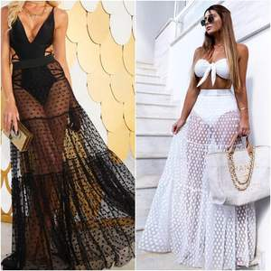MoneRffi Women Beach Summer Mesh Polka Dot Skirt Hight Waist See Through Maxi White Lace Skirt Sexy Transparent Mesh Long Skirt