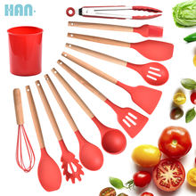 2020 Hot Selling Silicone Cooking Tools Utensils 11 Pieces Eco-friendly Wooden Silicone Kitchen Accessories Utensils Set