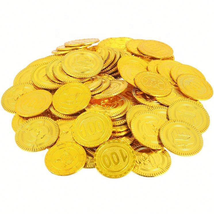 Promotion Custom Cheap Different Kinds Gold Color Plastic Token Coin